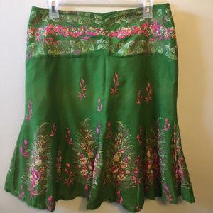 Anthropologie Odille Boho Skirt Green Size 6